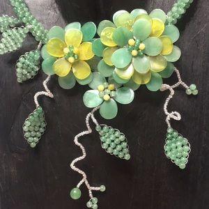 Green statement necklace handmade stunning